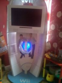 nintendo wii game station and tv