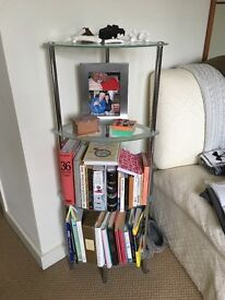 John Lewis glass corner shelves: 4-tier with frosted edges