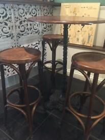 Wooden top high table with caster iron leg and bar stools