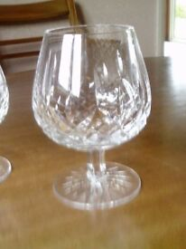 Pair Brandy Goblets in cut-crystal glass.