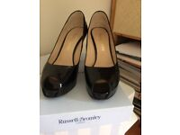 Russell & Bromley black patent peep toe platform shoes worn once only size 38