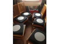 6 Wooden chairs with tweed ikea pads 25 pounds