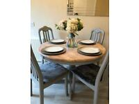 Oak dining table & 4 chairs in grey