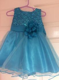 Baby girls blue dress 9-12 months