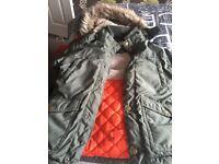 Boys khaki Parker fur hooded coat
