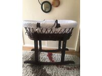 Luxury white and dark wood Moses basket for sale hardly used