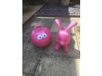 EARLY LEARNING CENTRE HOP ALONG RABBIT AND SIT 'N' BOUNCE, PINK BOUNCE HOPPERS