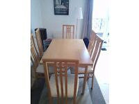Solid Wood Extendable Dining Table and 6 High Back Chairs