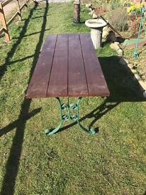 Cast iron wooden garden table