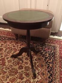 Green leather top drum table