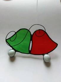 Bells lovers green & red suncatcher stained glass tiffany handmade decoration ornament Christmas