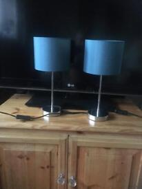 Pair bedside table lamps (Teal)
