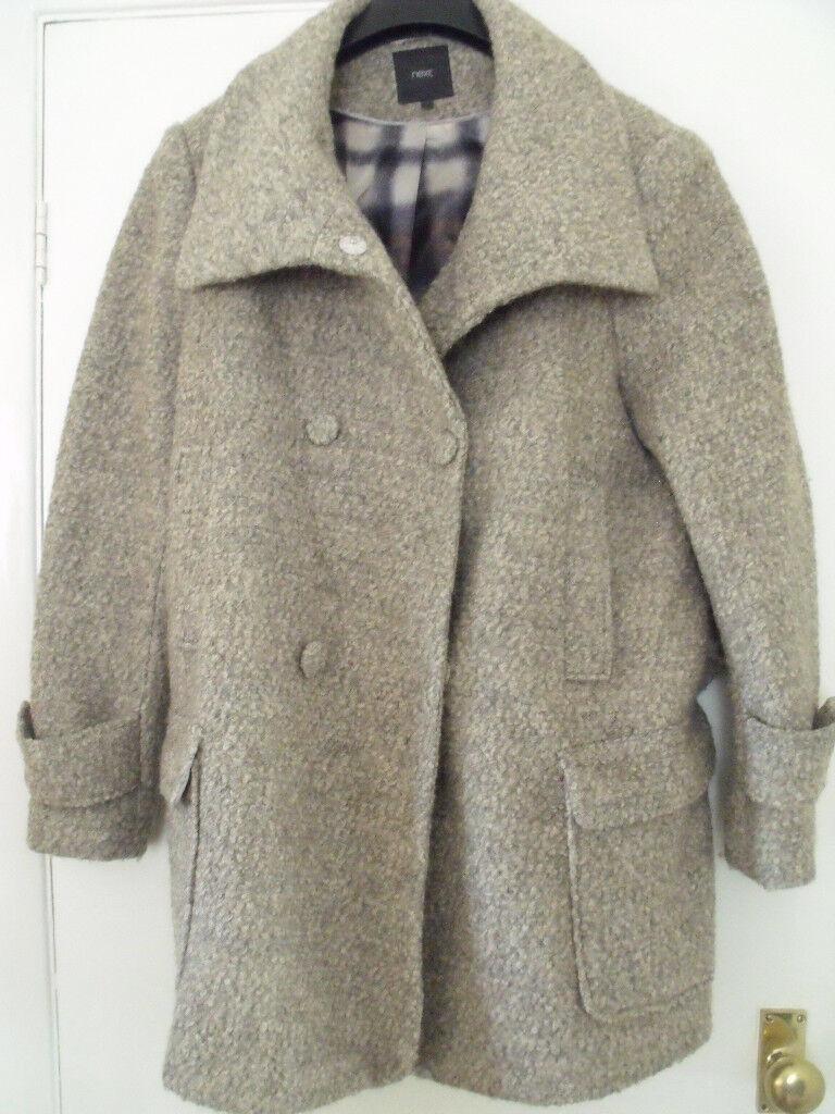 Next ladies coat/ jacket size 22 brown/beige - wool mix