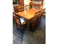 Farmhouse pine kitchen dining table and 6 chairs