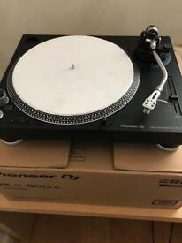 *Virtually New Pair of Pioneer PLX 500 DJ Turntables and a Single Pioneer S-DJ50X Monitor Speaker*