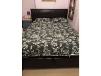 King size black leather ottoman storage bed