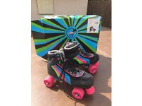 RETRO QUAD RIO ROLLER SKATES 4-WHEEL ADULT GIRLS BOYS SIZE 6 BOXED USED ONCE FREE DELIVERY RP £50