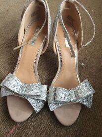 Miss KG Size 7 - Kurt Geiger Silver glitter heels with bow & ankle strap
