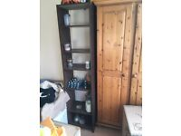 2 BOOK SHELVES CHOCOLATE BROWN AND LIGHT BROWN GOOD CONDITION EXTRA LITTLE CUPBOARD FREE