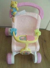 musical dolls pushchair/ stroll along walker - ideal for toddler