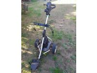 clubbers electric golf trolley with recent new battery, includes Powercaddy Bag
