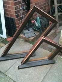Hardwood oak sloping windows with clear single glazed glass (non opening )£20 each