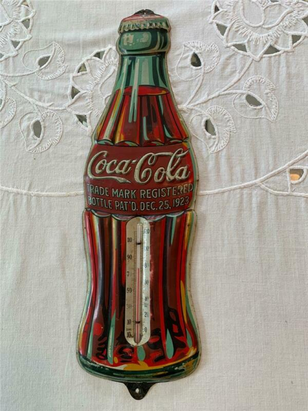 "COLA-COLA RARE 1930 DEC.25th. 1923 ""CHRISTMAS BOTTLE"" TIN THERMOMETER"