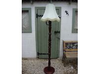 Quality Turned Hardwood Standard Lamp,With Shade.