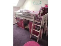 Child's storage bed and girls modern desk