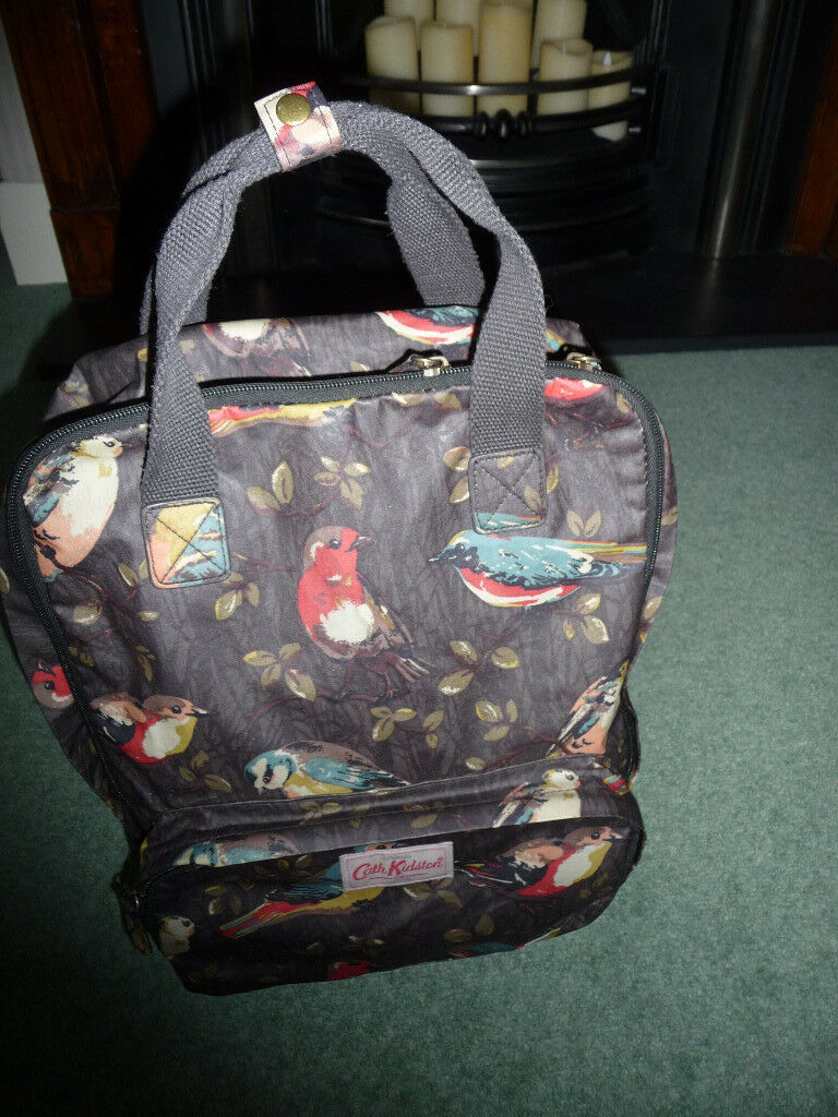 cath kidston 'birds' ladies backpack laptop/tablet multi pocket exc condition