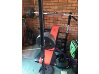 Home Multi Gym with Weights, Bar and Bench, Excellent Condition