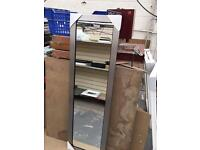 "brushed silver full length framed mirror 52""x16"""