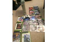 White Xbox 360 console and games