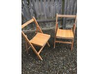 Chairs , two pairs of chairs. one pair wooden. Other pair 60's