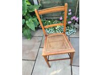 VINTAGE SMALL WOODEN CANE-SEAT BEDROOM CHILD'S CHAIR