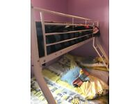 Triple bunk bed sleeper white metal. Good condition