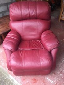 RED LEATHER - ARMCHAIR RECLINER-GOOD CONDITON-BOUGHT FROM ANDERSON & ENGLAND