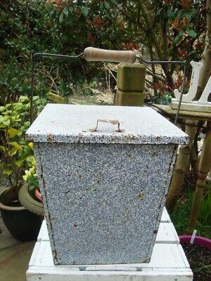 Vintage French Graniteware Bucket /Tilt Lid /Wood On Wire Handle  GARDEN PLANTER