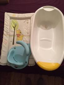 Baby bath, seat and change mat