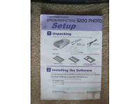 EPSON PERFECTION 3200 PHOTO FLATBED SCANNER + DISC & SETUP INSTRUCTION