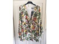 Boohoo Floral Skater style Dress size 14