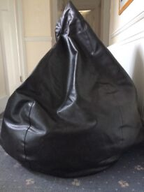 Large Brown Leather Bean Bag