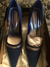 River Island blue and silver heel