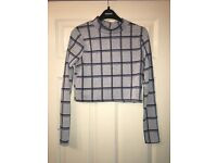 Size 10 womens checked crop top from topshop