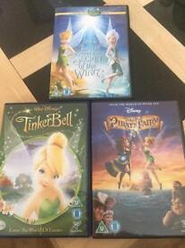 3 x Disney Tinkerbell dvd's
