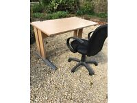 Home office desk and swivel chair