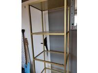 Gold and glass Ikea shelving unit £10