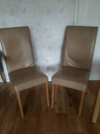 2 x Faux Leather Tan Chairs