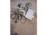 Playstation 1 with 4 original controller and 4 way controller adapter