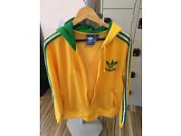 Men's adidas green & yellow tre foil hoodie size Large